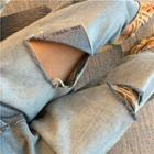 Distressed High-waist Cropped Jeans