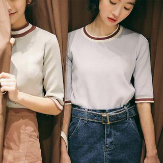Elbow-sleeve Contrast Trim Knit Top