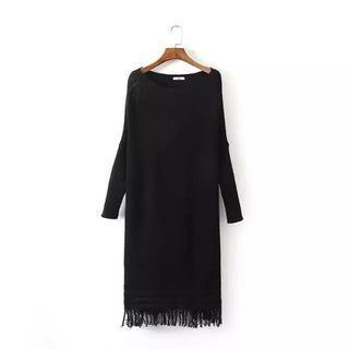 Fringed Long-sleeve Knit Dress