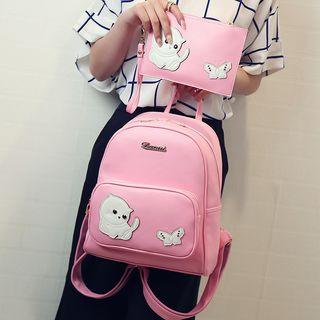 Cat Applique Faux Leather Backpack
