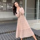 Ethnic Patterned Pleated Long-sleeve Dress