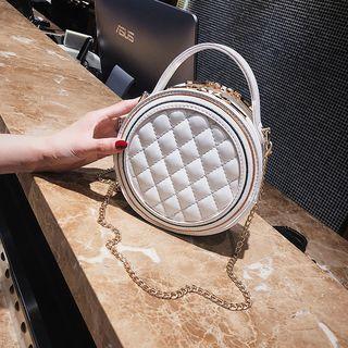 Round Chain Strap Quilted Shoulder Bag