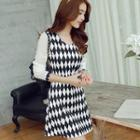 Rhombus Print Long Sleeve Dress