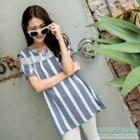 Long Striped Embroidery Shirt