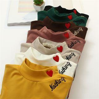 Mock Neck Heart Embroidery Top