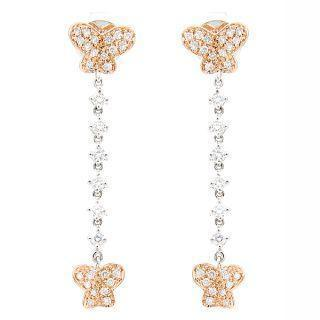 18k White & Rose Gold Dangling Earrings With Diamonds