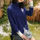 Turtleneck Snowman Embroidered Knit Sweater