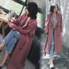 Double-breasted Plain Long Tweed Coat