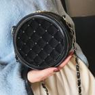 Quilted Velvet Round Crossbody Bag
