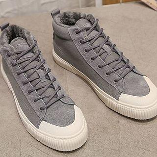 Fleece-lined Canvas High Top Sneakers
