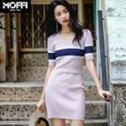 Striped Short-sleeve V-neck Knit Dress