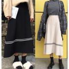 Striped A-line Midi Knit Skirt