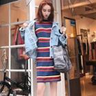 Striped Sleeveless Knit Dress Stripe - Multicolor - One Size