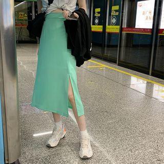 High-waist Slit Midi Skirt Aqua Green - One Size