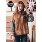 Denim-sleeve Patterned Cable-knit Top