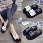 Hoop Detail Platform Slide Sandals