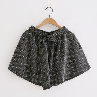 Window Pane Drawstring Shorts