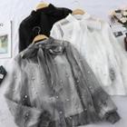 Set: Long-sleeve Beaded Blouse + Camisole