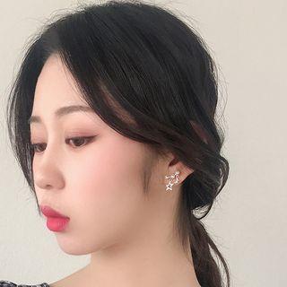 Faux Pearl Rhinestone Moon & Star Dangle Earring 925silver Earring - One Size