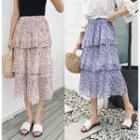 Floral Print Tiered Midi Chiffon Skirt