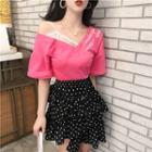 Embroidered Short-sleeve T-shirt / Tiered Dotted Skirt