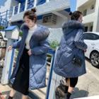 Furry Trim Padded Hooded Long Jacket