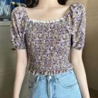 Short-sleeve Floral Print Chiffon Crop Top