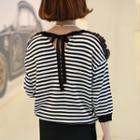 Tie-back Striped Knit Top
