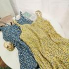 Floral Print Chiffon Strappy Midi Dress