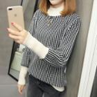 Mock Neck Color Block Patterned Sweater