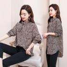 Leopard Print Lace-up Blouse