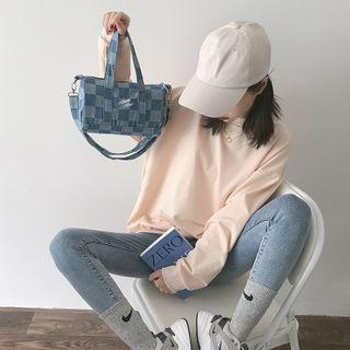 Checker Print Denim Crossbody Bag