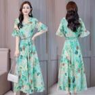 Bell-sleeve Maxi Floral A-line Dress