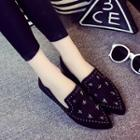 Faux-suede Studded Flat Loafers