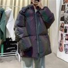 Hooded Iridescent Padded Zip Jacket