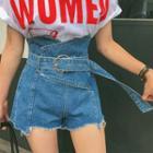 Belted High-waist Fray-hem Denim Shorts
