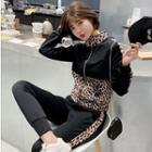 Set: Leopard Print Panel Zip Knit Jacket + Cropped Jogger Pants