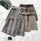 Asymmetric Plaid A-line Skirt With Belt