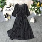 Polka Dot Elbow-sleeve A-line Chiffon Dress