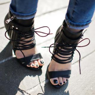 Lace-up High-heel Sandals