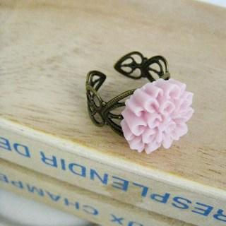 Purple Gloomy Flower Ring Copper - One Size