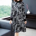 Long-sleeve Printed Midi A-line Chiffon Dress
