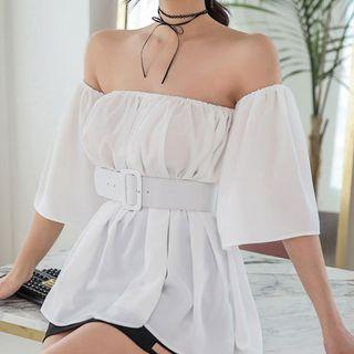 3/4-sleeve Off-shoulder Long Top White - One Size