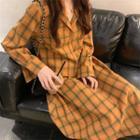 Plaid Blouse / Midi A-line Skirt