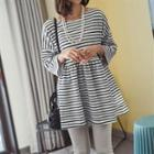 3/4-sleeve Striped Dress White - One Size