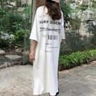 Lettering Back Elbow-sleeve Dress