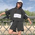 Set : Letter Elbow-sleeve Hoodie + Shorts