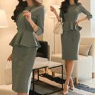 Button Detail 3/4-sleeve Peplum Dress