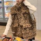 Leopard Pattern Furry Vest As Shown In Figure - One Size