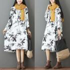 Printed Round Neck Midi Dress